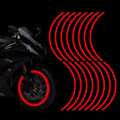 Leasinder 16pcs 17-19'' Reflective Wheel Rim Stripe Decal Sticker for Motorcycle Wheels Car Cycling Bike Bicycle Night Safety Decoration Stripe Universal Reflective Rim Stickers (Style 1 Red)