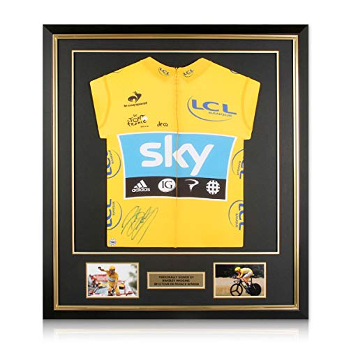 Bradley Wiggins Signed Tour De France 2012 gele trui. Ingelijst