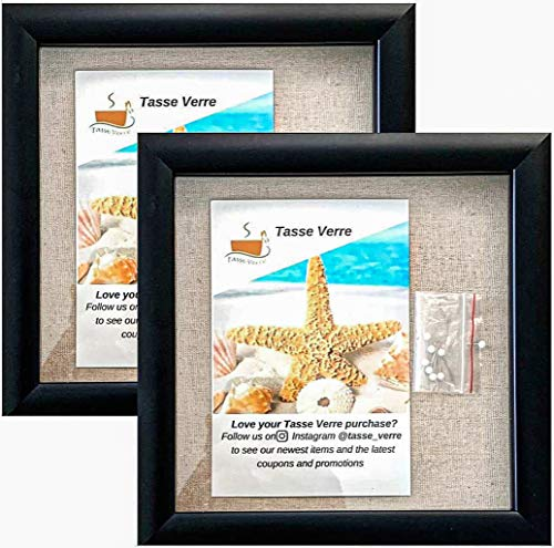 Tasse Verre 8'x8' Black Display Shadow Box (2-Pack) Frame w/Linen Background and 16 Stick Pins -...