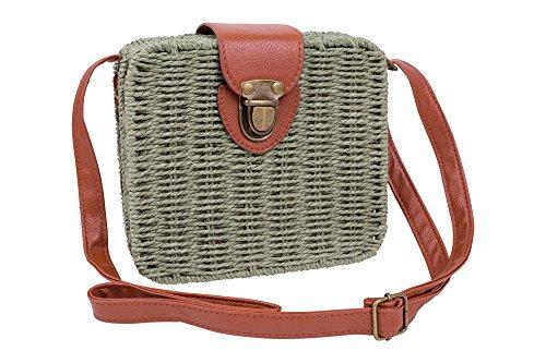 Emartbuy Retro Wicker Square Handbag Shoulder Bag Crossbody Sling Bag with Floral Linen - Olive Green