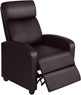YAHEETECH Recliner Chair PU Leather Recliner Sofa Adjustable Modern Single Reclining Seating Upholstered Sofa with Pocket Spring Living Room