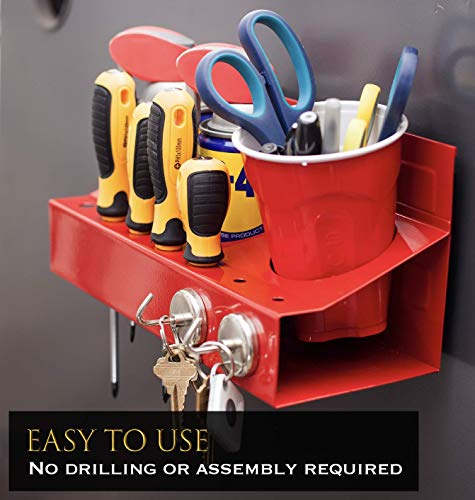 eHomeA2Z Magnetic Can Holder Spray Screwdriver Garage Organizer Red Tool Tray (Red)