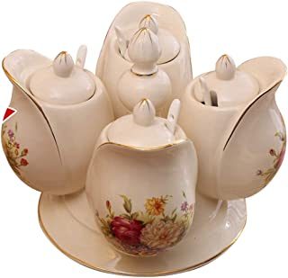 WZHZJ Ustensiles de Cuisine Pot d'assaisonnement en céramique Ensemble de bocaux d'assaisonnement Pot de sel ménager créat...