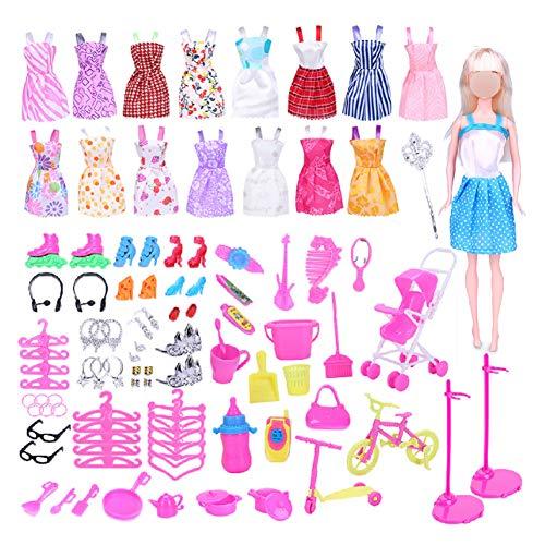 Ropa de muñeca rosa con trajes mini vestidos conjunto zapatos collar pendientes colgantes para niñas regalo de cumpleaños 114 piezas
