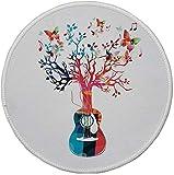 Rutschfreies Gummi-rundes Mauspad Gitarre bunte Musikkomposition mit Gitarrenbaum und Schmetterlingen Künstlerische Inspiration mehrfarbig 7.9