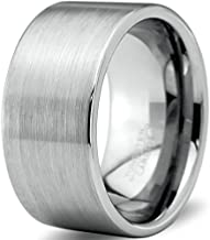 Charming Jewelers Tungsten Wedding Band Ring 12mm for Men Women Comfort Fit Grey Pipe Cut Brushed Polished