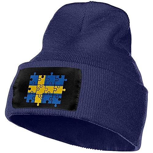 Zweeds Vlag Puzzel Outdoor Stretch Knit Beanies Hoed Zachte Winter Schedel Caps Warm Winter voor Mannen Vrouwen,(W) 18Cm X (H) 30Cm