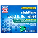Rite Aid Multi-Symptom Nighttime Cold and Flu Relief - 24 Softgels | Pain, Fever and Cough Relief