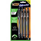 BIC Gel-Ocity Quick Dry Gel Pens, Medium Point Retractable (0.7mm), Black Ink Gel Pen, 4-Count