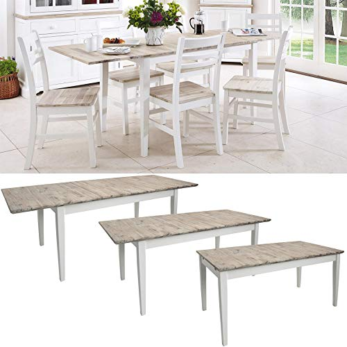 Florence large rectangular dining table. White extendable kitchen table. Center extension. Extends to 3 sizes (140/170/200)
