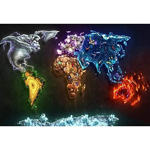 5D Diamant Schilderen DIY Cross Stitch Borduurwerk Kunst Craft Elementen van De Wereld Handgemaakte Foto's Volledige Boor Kristal Strass Kits Mozaïek Canvas Muursticker Home Room Muurdecoratie 60×80cm Vierkante Boor