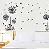 Malloom Tarassaco Neri e Farfalle Che Volano Nel Vento Adesivi Murali, Camera da Letto Soggiorno Adesivi da Parete Removibili/Stickers Murali/Decorazione Murale