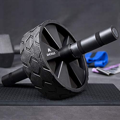 AMONAX Bauchroller, bauchtrainer ab Roller, bauchmuskeltrainer ab Wheel Set, mit Rutschfester, inkl. gut gepolsterter Kniematte/Knieauflage, für Männer und Frauen, Bauchmuskeltraining