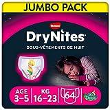 Huggies DryNites - Ropa interior desechable para niñas, talla 3-5 años, 64 bragas