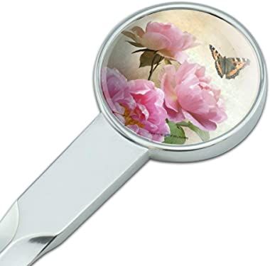 Pink Roses and Butterly Classic Chrome Plated Metal Envelope Letter Opener Slitter