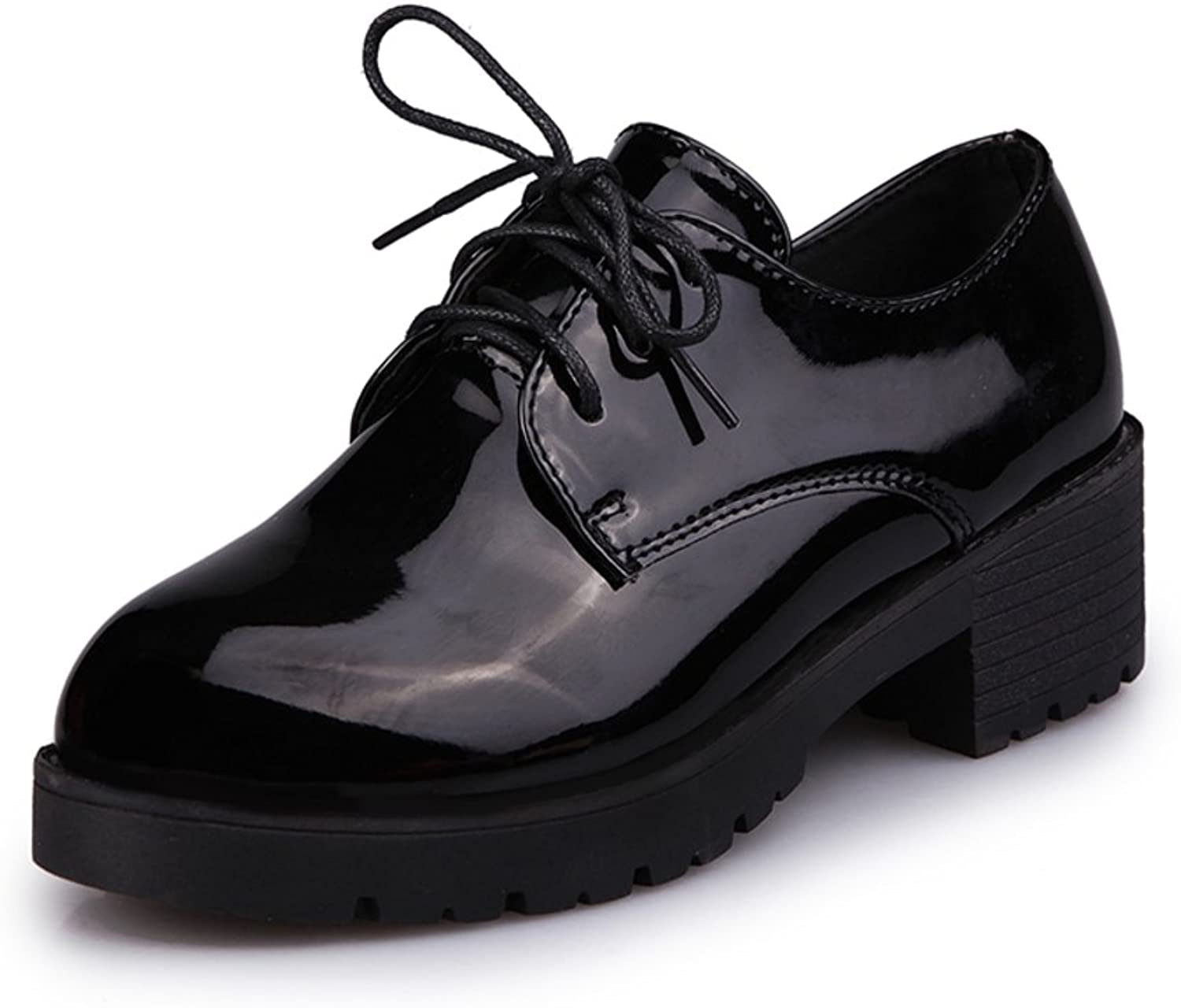 End of spring and autumn in coarse with thick round heels Tie patent leather shoes