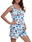 ENJOYNIGHT Women's Cute Sleeveless Print Tee and Shorts Sleepwear Tank Top Pajama Set (XX-Large, Blue Dog)