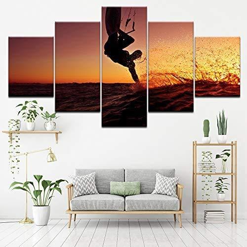Haojie 5-teiliges Wandbild mit extremem Surfen, Kunstdruck, Leinwand, Gemälde, Wohnzimmer, Schlafzimmer, Dekoration, Malerei, 5-teilig, A, S