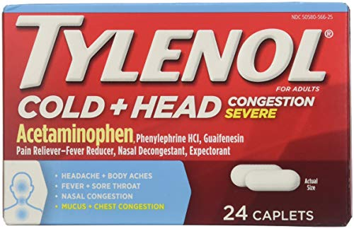 Tylenol Cold + Head Congestion Severe, 24 Caplets (Pack of 2)