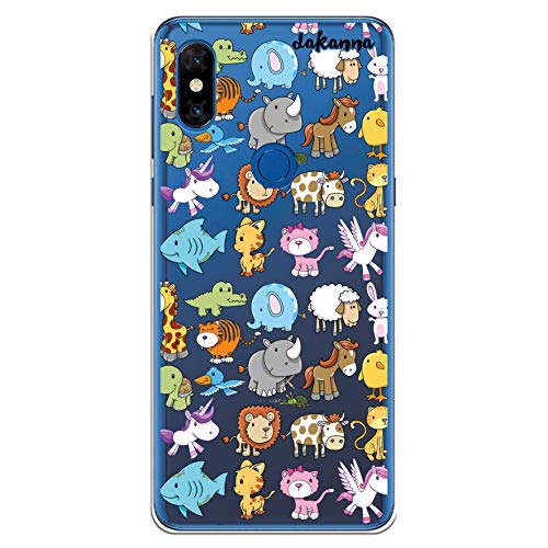 dakanna Funda para [Xiaomi Mi Mix 3] de Silicona Flexible, Dibujo Diseño [para niños, Animales Zebra Unicornio Gato Pajaro Elefante], Color [Fondo Transparente] Carcasa Case Cover de Gel TPU