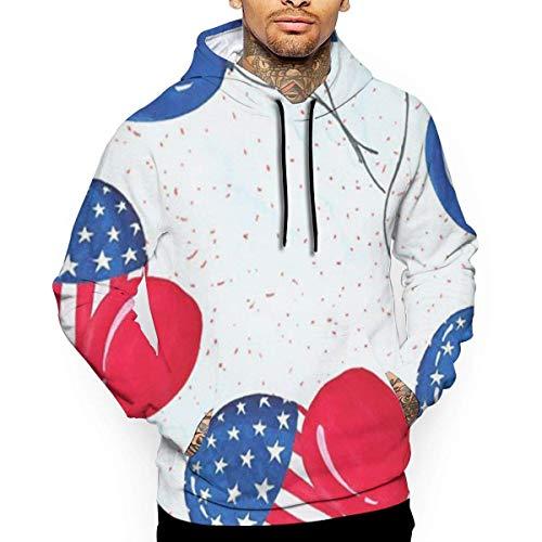 Amerikaanse vlag ballon unisex hoodie nieuwigheid cool lange mouwen trui grote zakken met capuchon grappige print trui