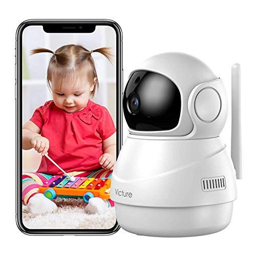 Baby Monitor, [2021 Upgraded] Victure Pan/Tilt Indoor Camera with Motion Tracking, 2-Way Audio, 1080P Night Vision, Wi-Fi Camera for Pets/Kids/Home Security, Works with Alexa - Victure Home APP Monitors Smart