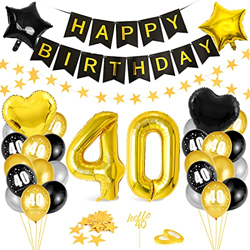 Globos 40 Cumpleaños,Decoración 40 Cumpleaños,Fiesta Cumpleaños 40,Globo de Cumpleaños 40,Globos de Cumpleaños Número 40,Cumpleaños Hombre 40,Kit 40 Cumpleaños Mujeres,Decoraciones Cumpleaños 20 Años