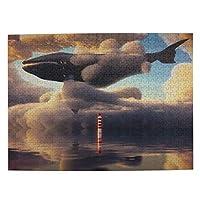鯨 空 雲 灯台 海 芸術 500ピース ジグソーパズル ピクチュアパズル 木製の風景パズル、人物 動物 風景 漫画絵のパズル 大人の子供のおもちゃ家の装飾風景パズル Puzzle 52.2x38.5cm
