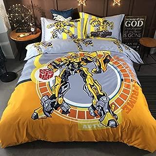 EVDAY Spider-Man Batman Captain America Iron-Man Transformers Bumblebee Superman 3D Cartoon Kids Bedding Including 1Duvet Cover,1Flat Sheet,2Pillowcases King Queen Full Twin Size