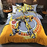 EVDAY 3D Marvel Transformers Bumblebee Bedding for Boys Kids Bedding Including 1Duvet Cover,1Flat Sheet,2Pillowcases Queen Full Twin Size