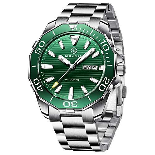 Automatische Uhr analoge für Herren - BERSIGAR Classic Diving Series Mechanische Uhren wasserdichte Edelstahl-Luxusarmbanduhren für Herren…