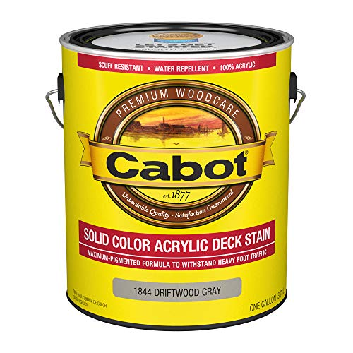 Cabot 140.0001844.007 Solid Color Decking Stain, Gallon, Driftwood Gray