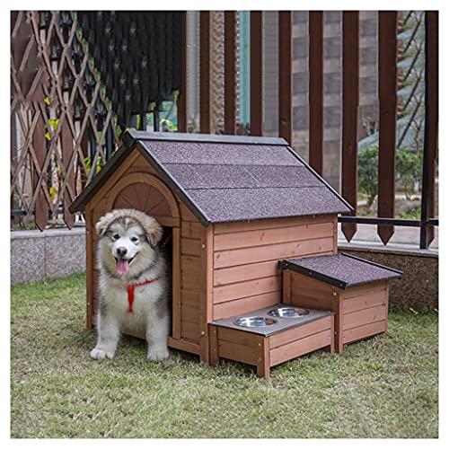TYX Casetas Perros Exteriores, Caseta Perro Madera Casa Perros Refugio Perros con Mesa Comedor, para Animales Pequeños Medianos...