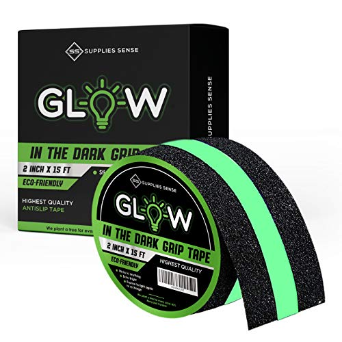 Supplies Sense Glow in The Dark Grip Tape (2' x 15 ft) – Glows Brighter and Lasts Longer – Non-Toxic, Pet-Friendly, Residue-Free – Safe for Walls and Floors – Perfect for Parties