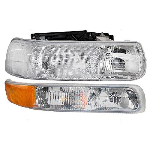 Passengers Headlight & Side Signal Marker Lamp Replacement for Chevrolet Pickup Truck SUV 16526134 15199559 AutoAndArt