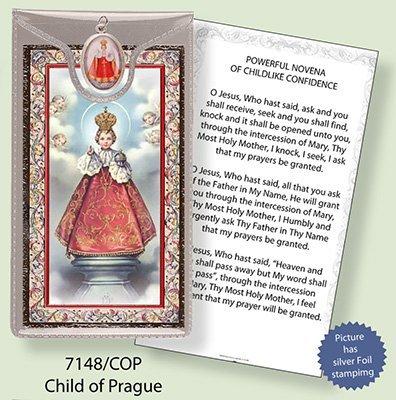 gebedskaart en medaillenhanger, motief: Prager Jezus, zilveren folie, geëtst, met Vers in het Engels.