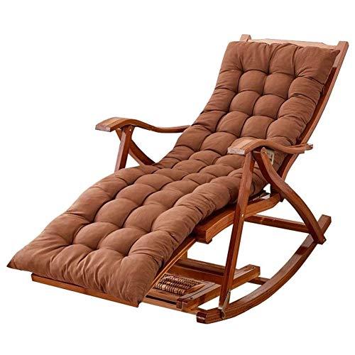 silla HAIYU Reclinable Plegable, Tumbona de Jardín Acolchada, Sillón Reclinable de Madera para Balcón y Camping al Aire Libre, con Respaldo Ajustable de 5 Posiciones, Marrón