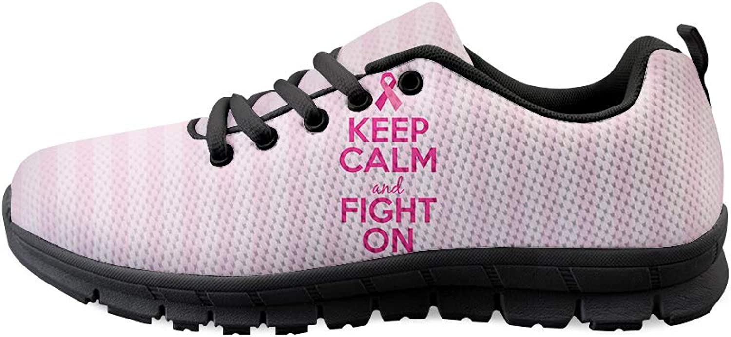 Laceup Sneaker Training shoes Mens Womens Breast Cancer Awareness Keep Calm and Fight On