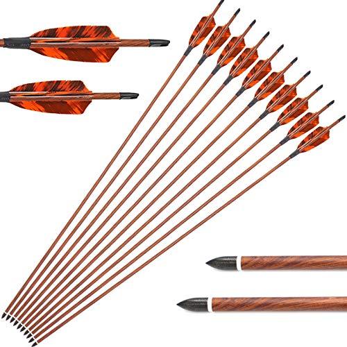 12er 30 Zoll Pfeile für Recurvebogen, Langbogen oder Compoundbögen Carbonpfeile mit Spinewert ca 500 für Bogen und Bogenschießen
