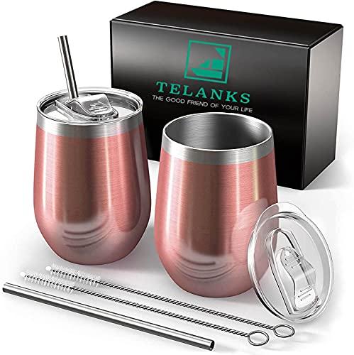 2 tazas de café de acero inoxidable para llevar de 350 ml, con pajita y tapa, termo aislante, reutilizables, para café, té, vino y cócteles, color oro rosa