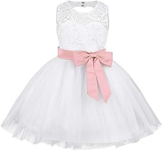 6b26c06e6659b Freebily Bébé Fille Robe Demoiselle d honneur Fête sans Manches Blanc Dentelle  Robe d