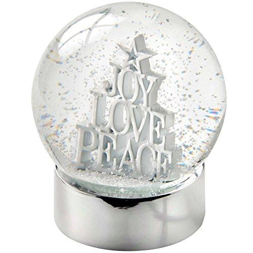 WeRChristmas–alegría Amor Paz Bola de Nieve Navidad decoración, 11cm, Color Blanco/Multicolor