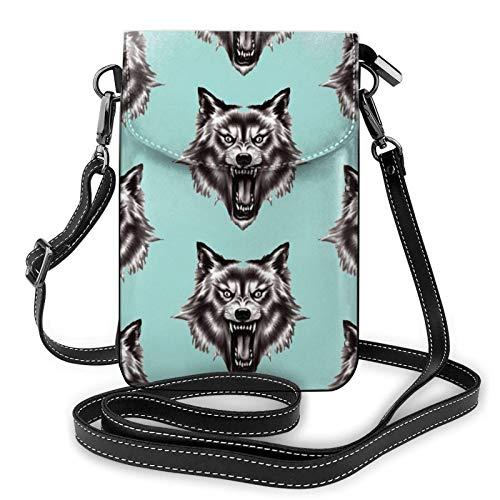 Bolso ligero del teléfono celular de la PU, bolso pequeño del bolso del hombro del hombre lobo Hd del bolso de hombro de la cartera del bolso de Pounch para las mujeres