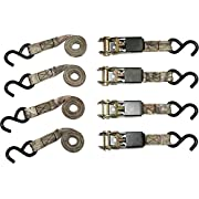 "RPS Outdoors SI-2067 Mossy Oak Break-Up Infinity Camo 1"" x 8' Ratchet Tie Down Straps (900 lb Tension Strength), 4 Pack"