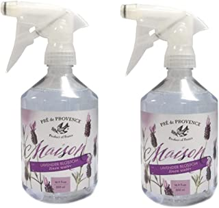Pre de Provence Maison French Lavender Blossom Linen Water with Sprayer - Set of 2 Lavendar Bottles - 500 mL per Spray Bottle