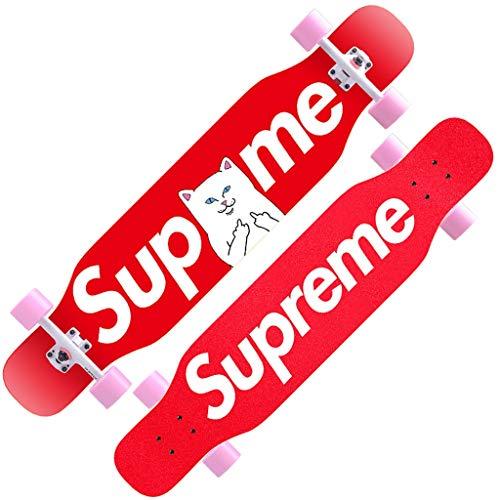 SXZHSM Scooter, Ahorn-Longboard, Profi-Bürste, Street Dance Board, Anfänger, Erwachsene, Teenager, Jungen und Mädchen, Vierrad-Skateboard (Farbe: K)