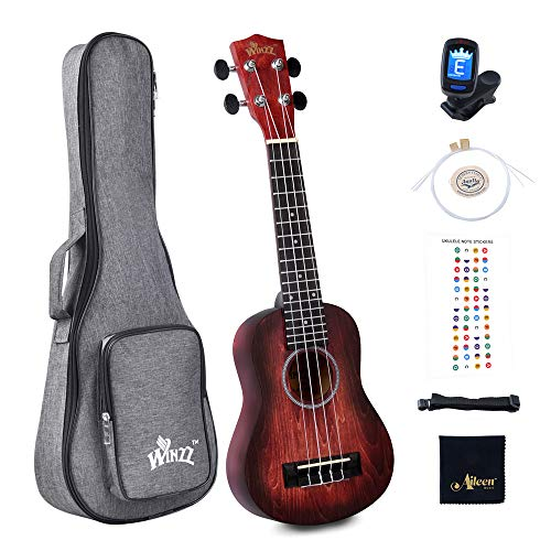 Winzz Ukelele Soprano para Niños Kit para Principiantes con 6 Accesorios, Diseño de Color Único - 21 Pulgadas Rojo