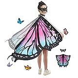 JEPOZRA mariposa Chal alas con máscara kit de valor niños disfraces navidad juguetes halloween fiesta traje cosplay diseño ideas kit (Pink blue)