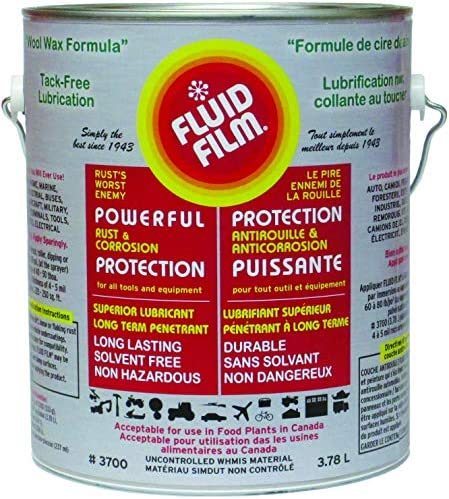 Fluid Film 1 Gallon Can Rust Inhibitor Rust Prevention Anti Corrosion Anti Rust Coating Undercoating Underbody Rust Proofing Corrosion Protection for Truck Snow Blower Mower Car Semi Tractor Bus