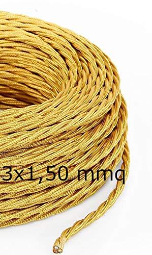 Cavo Elettrico Treccia/Trecciato Rivestito in Tessuto. Colore Oro. Sezione 3x1.50 (5 Metri)